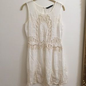 White lace embroidered sheer dress